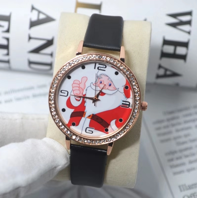 Christmas Gift Children's Student Watch Lovely Santa Claus With A Diamond Belt Quartz Watch
