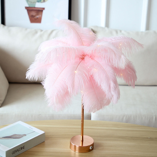 Remote Control Feather Table Lamp USB/AA Battery Power DIY Creative Warm Light Tree Feather Lampshade Wedding Home Bedroom Decor 3