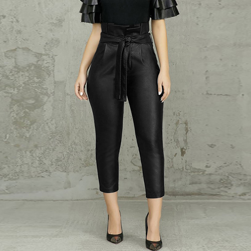 2020 ZANZEA Women's Front Zipper Trousers Elegant Tight Leather Pants  Lace Up High Waist Pantalon Oversized Stretch Turnip