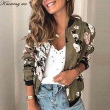 Women Floral print Jacket coat Lady Long Sleeve Zipper Up Retro Coat Autumn Slim