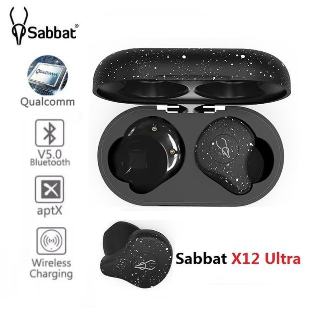 Sabbat X12 Ultra Qualcomm TWS Wireless Bluetooth 5.0 Earphone Sports HiFi Stereo Earbuds Support wireless charger earphones