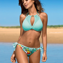 Bikinis Sexy Swimwear Bathing-Suit Push-Up Two-Piece Beach Plus-Size Women Tied-Up Hater