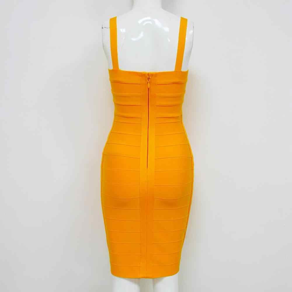 Vestito Da estate Delle Donne Sexy Arancione del Vestito Dalla Fasciatura 2019 Celebrity Notte Blu Mini Vestito Da Partito Vestido