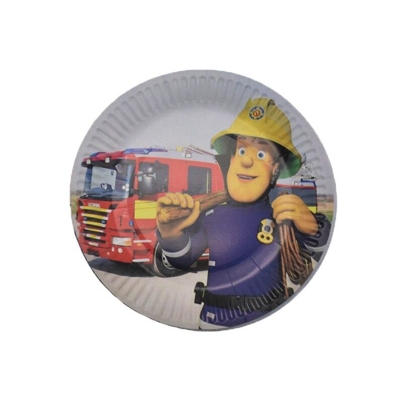 Купить с кэшбэком 20pcs 7inches Fireman Sam theme disposable plates Fireman Sam theme birthday party decorations Fireman Sam disposable plates