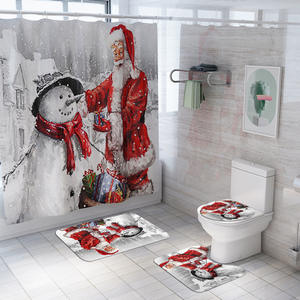 LANGRIA Christmas 4pcs Bathroom Shower Curtain Waterproof Snowman Bath Curtain Set Toilet Cover Mat Non-Slip Bathroom Rug Set