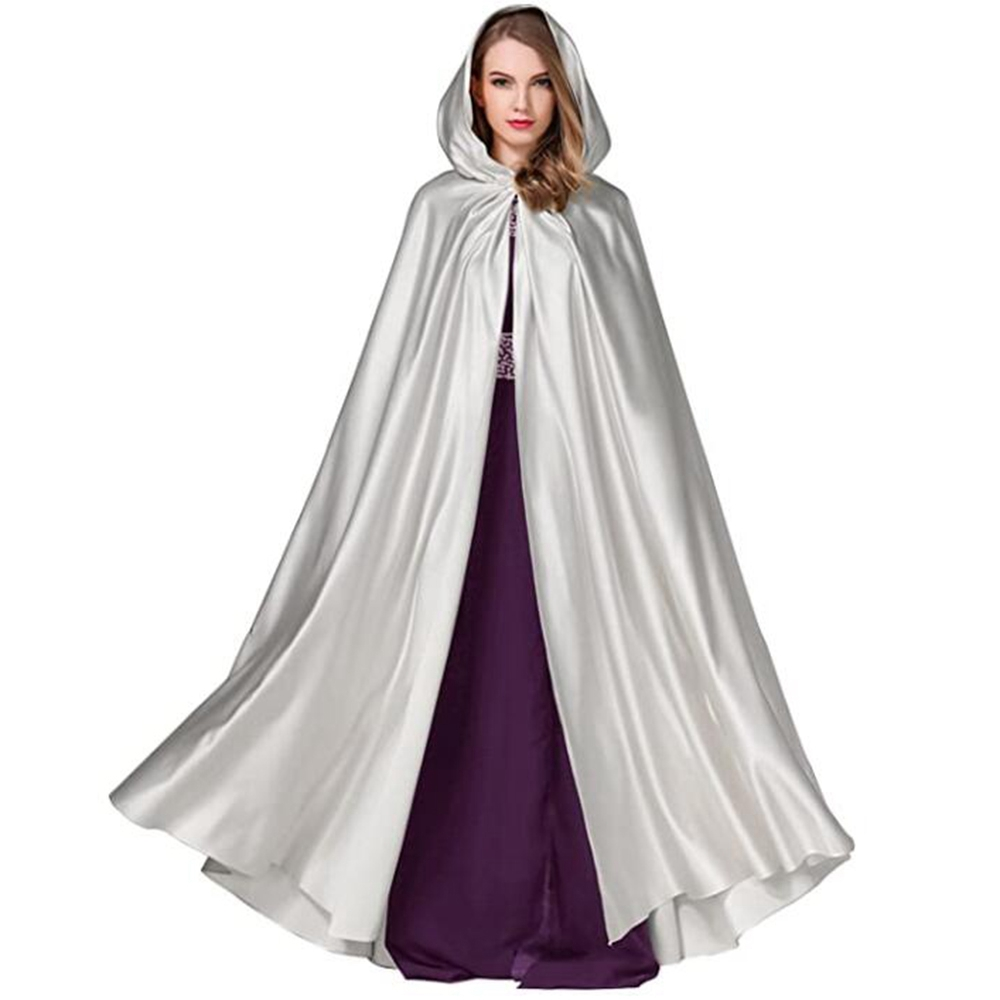 Halloween Hooded Cloak Medieval Witches Princess Adult Child Black Satin Hood Vampire Cape Halloween Cape Cosplay Costume