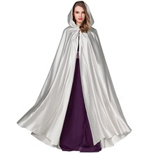 Halloween Hooded Mantel Middeleeuwse Heksen Prinses Volwassen Kind Zwart Satijn Kap Vampire Cape Halloween Cape Cosplay Kostuum(China)