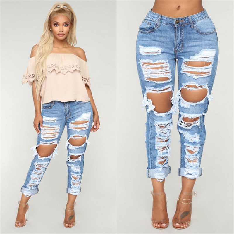 Fashion Women's Denim Jeans Casual Trendy Boyfriend Jeans Loose Long Pants Spring / Summer Women's Clothing S-2XL
