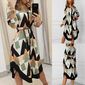 Womens Long Shirt Dress Wave Print Long Sleeve V-neck Casual Autumn Loose High Waist Holiday Midi Dress Vestidos Longo Plus Size 4