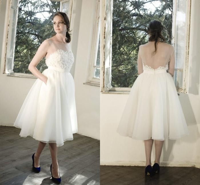 2018 Short Sheer Real-image Backless Cheap Fashion Bridal Gown White Knee Lenght Party Gowns Custom Bridesmaid Dresses