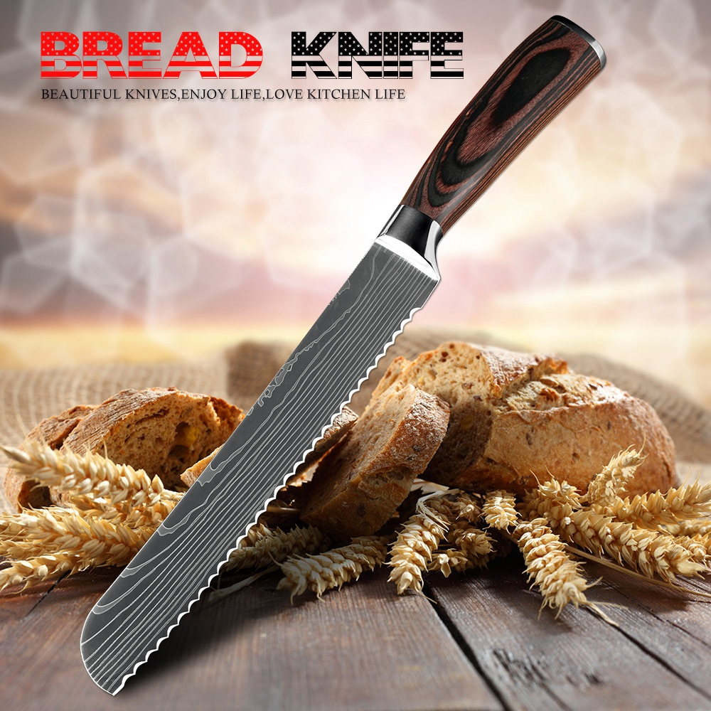 XITUO 8inch Bread Knife Chef Slicing Knives Laser Damascus Stainless Steel Kitchen Tool Serrated Blade Bread Cheese Cake Cleaver