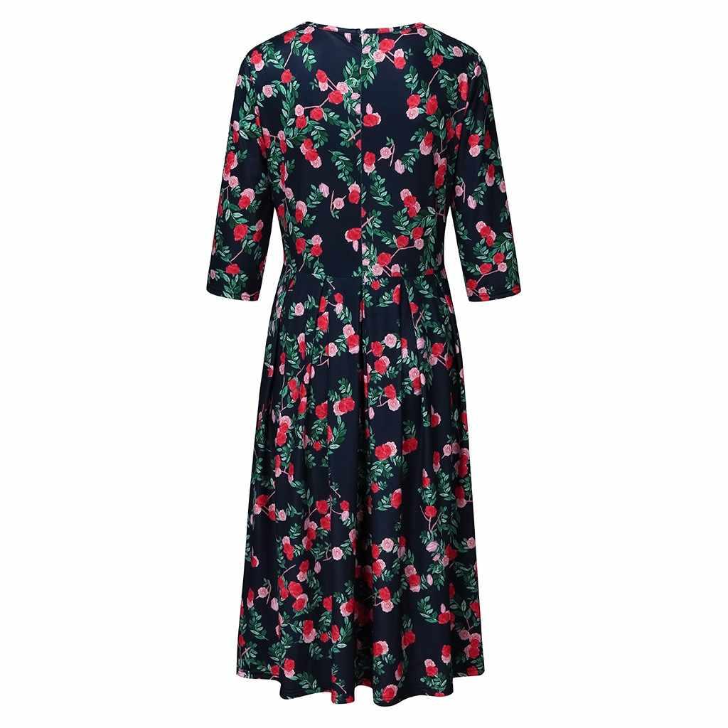 #35 女性ドレスプラスサイズの女性のファッション 3/4 袖ヴィンテージフローミディドレスツイードドレス