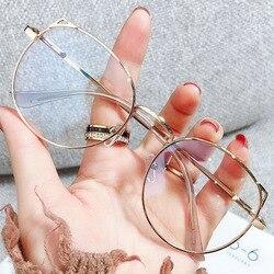2021 Trends Office Cat Eye Anti Blue Light Oversized Glasses Computer Women Blue Blocking Gaming Big Size Eyeglasses Alloy Frame