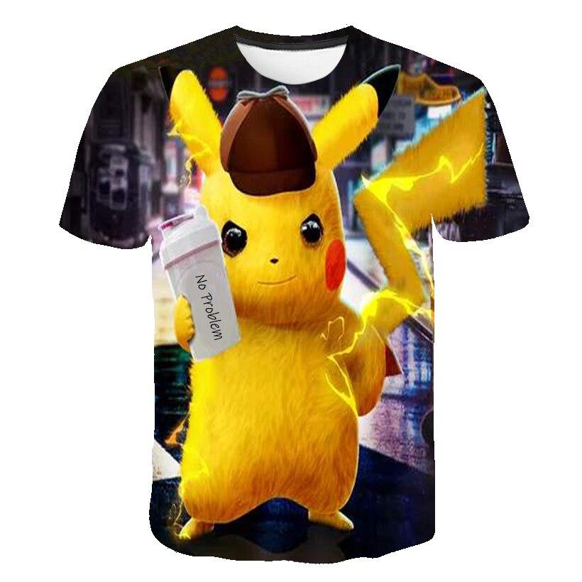 Funny T Shirt Harajuku 3D Child T-shirt Surprised Pikachu Japan Anime Men Summer Cool Pokemon T-shirt Boys Clothes Streetwear