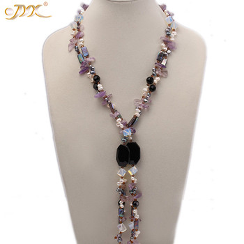 "JYX MIXED Necklace you must choose!Amethyst necklaces with agate 6*9mm pearls moonstone crystal chain long 64"" best jewelry gift"