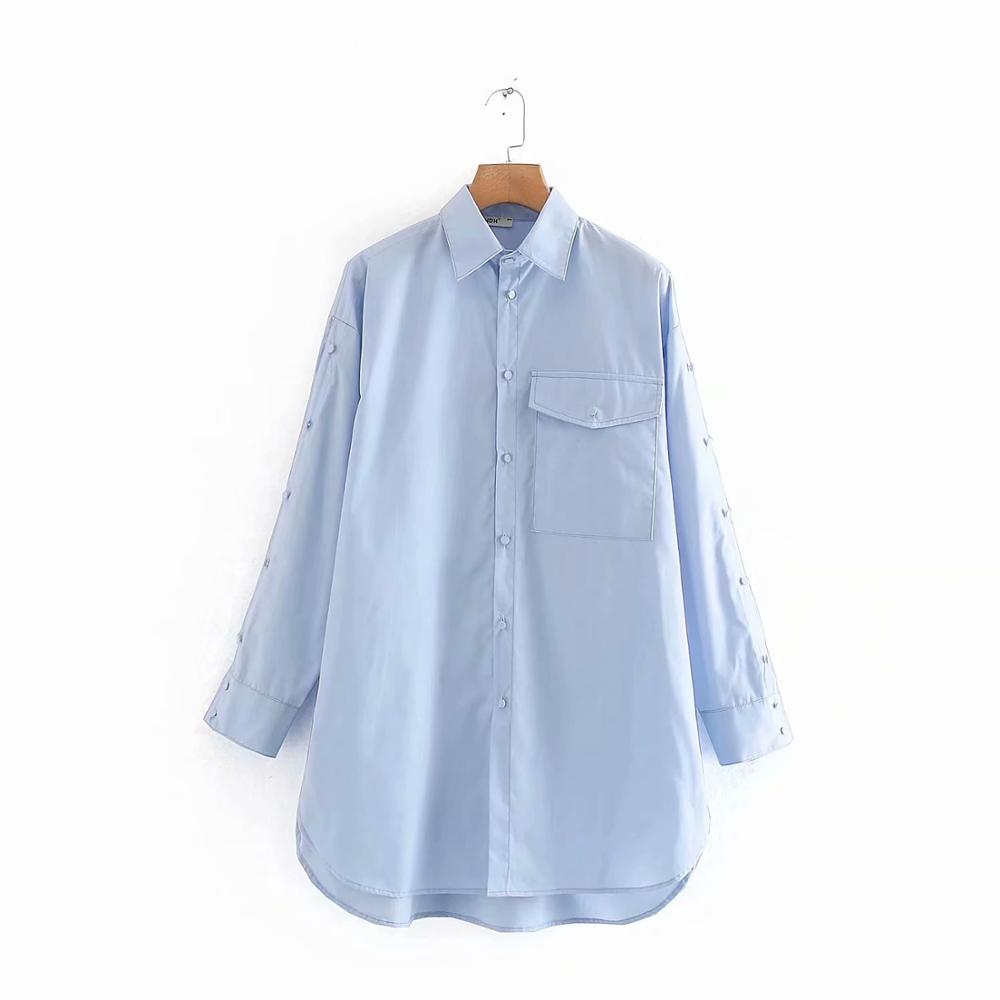 New Women Elegant Pocket Patch Casual Loose Shirt Office Lady Wear Split Buttons Long Sleeve Blouses Chic Chemise Shirt LS6129