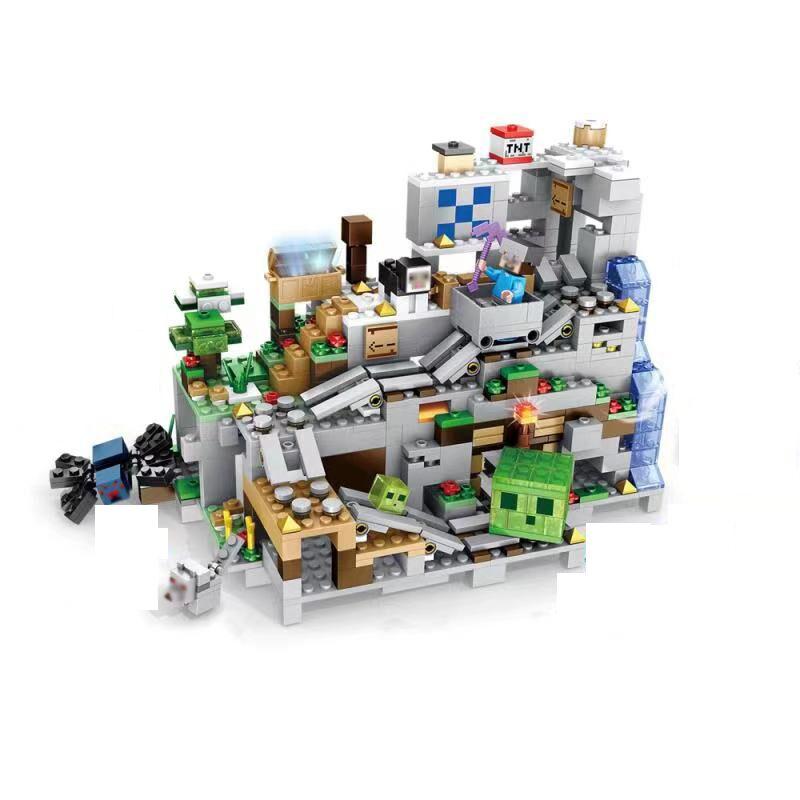 Горная пещера, шахта, строительные блоки, игрушки для детей, высокодетализированные красочные блоки, миниатюрный ландшафт
