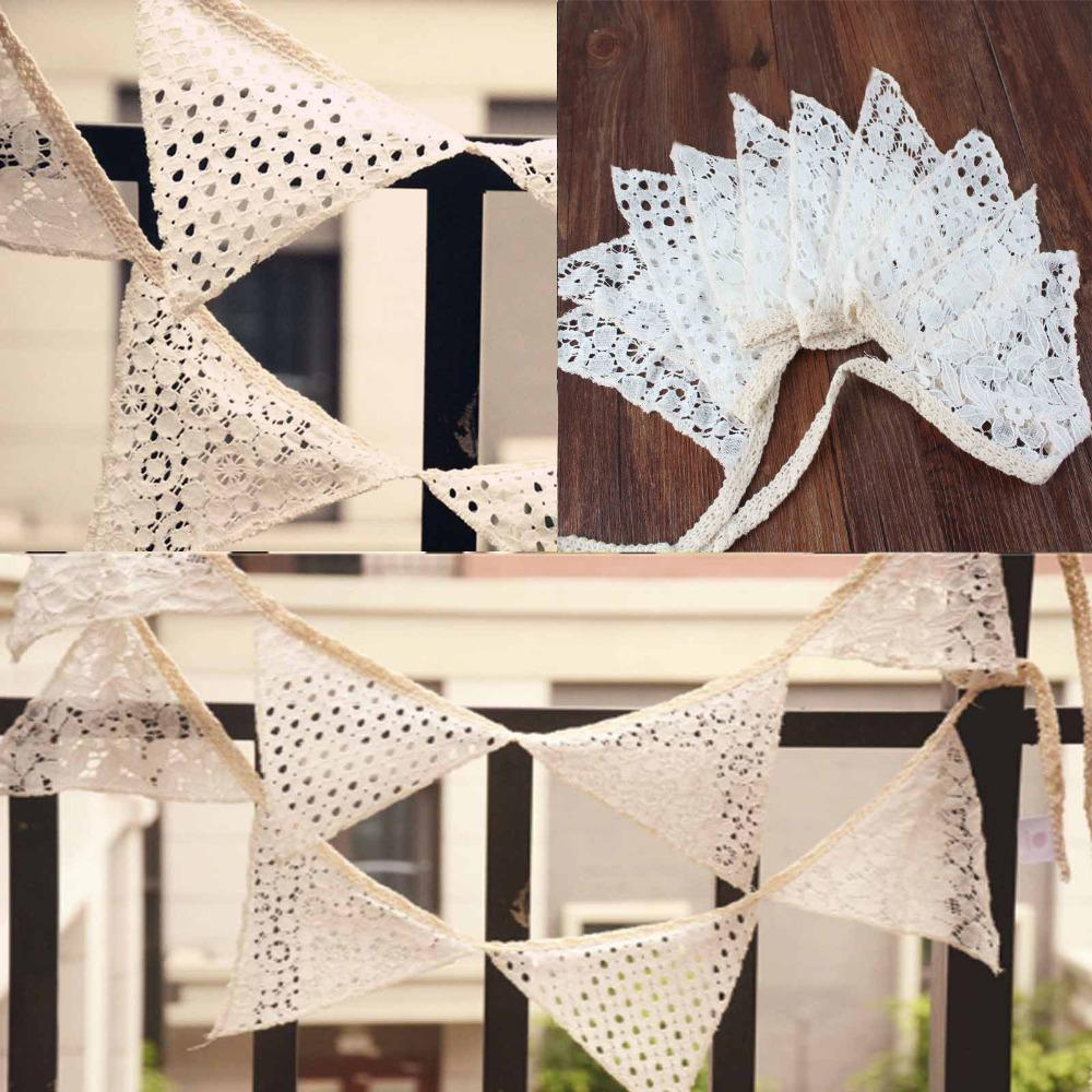 10Pcs/lot Vintage 2.1M White Cotton Lace 10 Flags Bunting Pennant Banner for Wedding Holiday Party Celebration Decoration