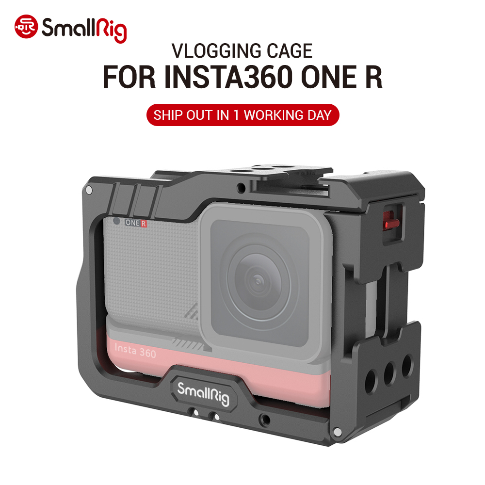 SmallRig Vlogging Aluminum Cage for Insta360 ONE R Vlog Cage Folding GoPro-type mounting fingers 2798