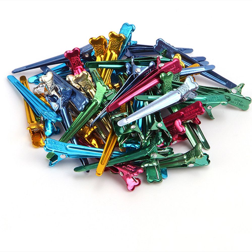 Approx 50Pcs Flat Metal Colorful Fix Section Holding Hair Clips DIY Alligator Accessories Hairdressing Hair Styling Tool New