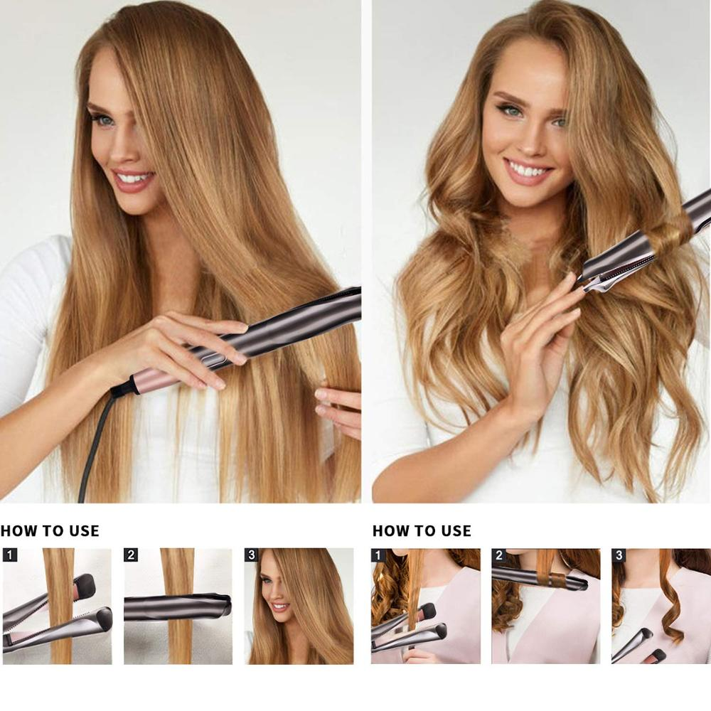 2020 New 2-1 Hair Straightener Hair Curlers With Comb Teeth Port Fast Heating Hair Straightening Curling Flat Iron Styling Tools