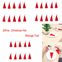 1/5/10/21/30PCs Christmas Decorative tableware Knife Fork Set Hat Storage Tool Supplies lovely 12*6cm
