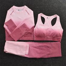 Ombre Yoga Set odzież sportowa Ombre Seamless Gradient legginsy + z długim rękawem Top Workout Sport garnitur zestaw Fitness dla kobiet odzież sportowa tanie tanio CEODOGG CN (pochodzenie) Akrylowe WOMEN Bez rękawów Pasuje prawda na wymiar weź swój normalny rozmiar Stałe Anty-pilling