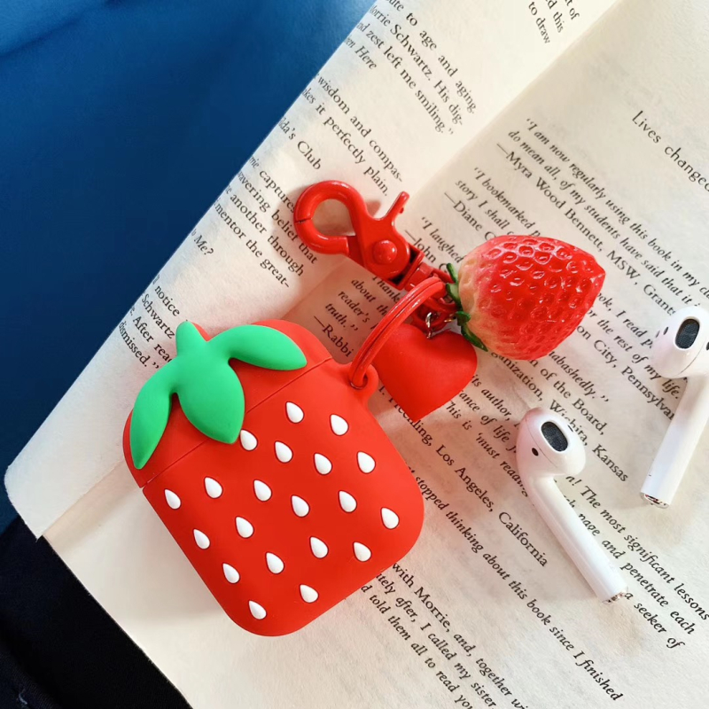 For Apple Airpods 1/2 Wireless Bluetooth Earphone Box Lovely 3D Cartoon Strawberry Silicone Airpods Shockproof Accessories Cover