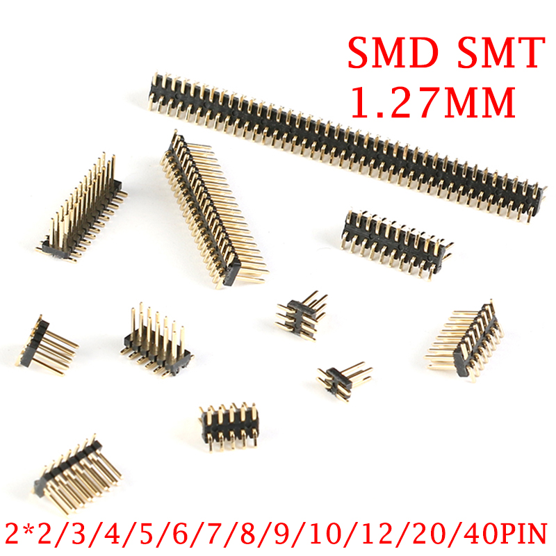 20Pcs/lot SMD SMT 2*2/3/4/5/6/7/8/9/10/12/16/20/40/ PIN Double Row Male PIN Header 1.27MM Pitch Strip Connector 2X/6/8/10/20