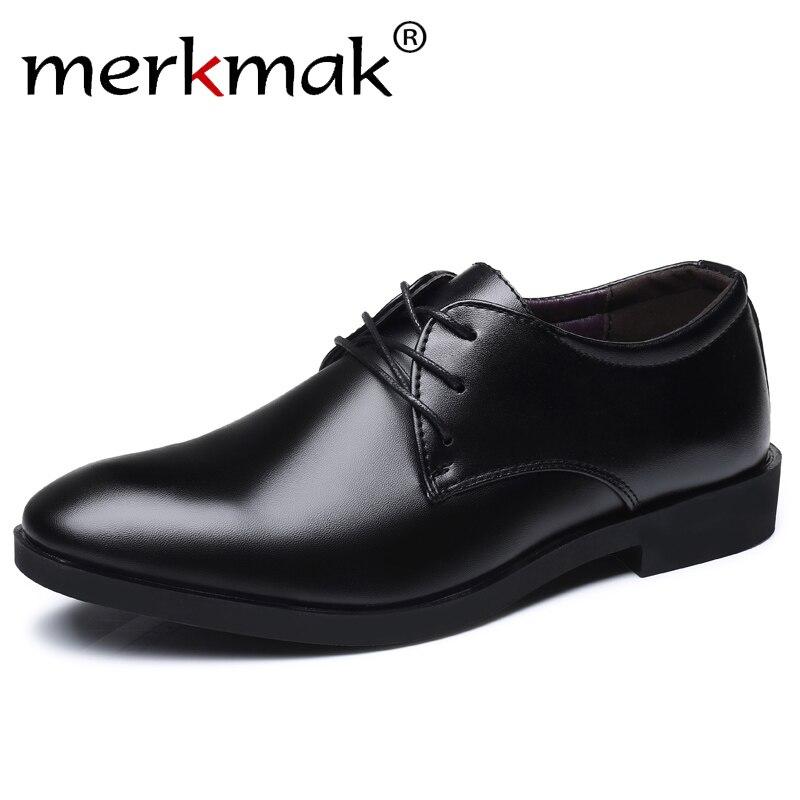 Merkmak Men's Brand Leather Formal Shoes Lace Up Dress Shoes Oxfords Fashion Retro Shoes Elegant Work Footwear Drop Shipping