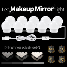 USB 12V Make-Up Dressing Tisch Spiegel Lampe Kosmetische Glühbirne Led Eitelkeit Spiegel Lichter Led Hollywood Bad Dimmbare Lampen Kit