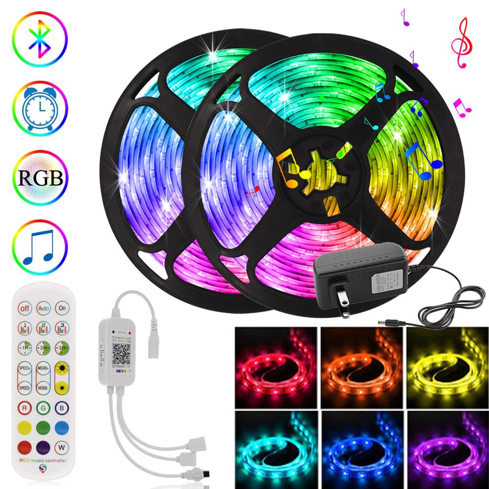 Smart LED Strip Lights 5m 20m RGB Tape with Controller Color Changing Flexible Neon LED Bluetooth Light for Home Bedroom Kitchen|LED Strips| - AliExpress