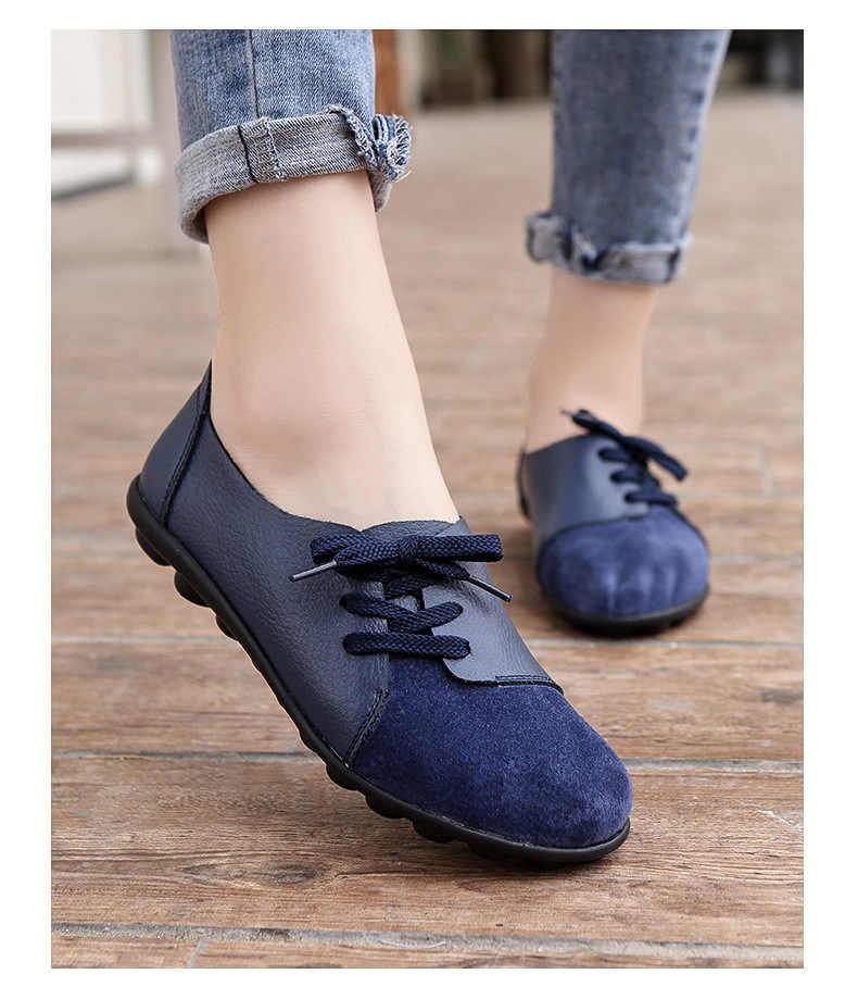 Inverno Mulheres flats único sapatos oxford queda mulheres sapatos flats mocassins sapatos mãe de couro cor sólida casuais rendas até sapatos de mulher