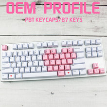 Pink White Color Keycap Pbt Front Radium Engraving Oem Keycaps For mechanical Keyboard Compatible Cherry Mx Gh60 Xd84 87