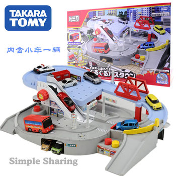 Takara Tomy Tomica World Around Rolling Bus Towns Automatic Playset with 1 Car  Let's Run with tomica! Round Bus Town