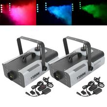 цена на 2PCS 1500W RGB 8LED Fog Machine Smoke Wireless Remote Xmas Party Stage DJ Fogger