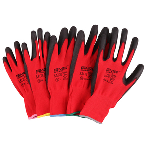 Image 2 - Hot Sale 6 Pairs GMG CE Certificated EN388 Red Polyester Black PU Work Safety Gloves Mechanic Working Gloves