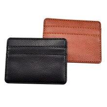 Moda fina capa de cartão de couro banco de negócios titular do cartão de crédito id titular do cartão carteira caso para mulher masculina