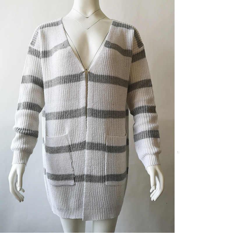 A righe Con Scollo A V Maglione Cardigan Più Il Formato casual di Lavoro A Maglia A Maniche Lunghe Sciolto Bianco Streetwear Autunno Cappotto di Inverno Delle Donne