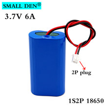 3.7V 6A 18650 bateria litowa 1S2P 6000mAh ładowalny akumulator głośnik megafon płyta ochronna + XH-2P wtyczka