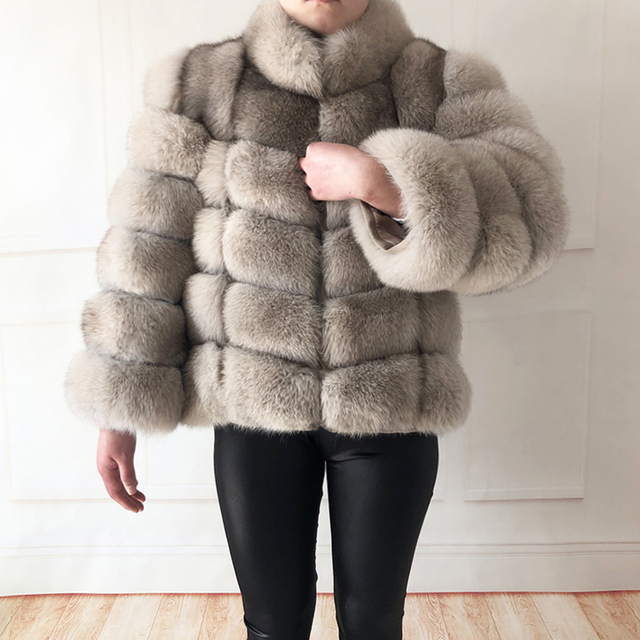 100% true fur coat Women's warm and stylish natural fox fur jacket vest Stand collar long sleeve leather coat Natural fur coats 6