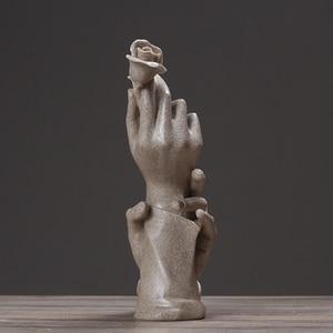Image 4 - nordic Resin statue for decoration home decor statues beelden decoratie Abstract sculpture modern figurines love rose sandstone