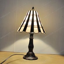 European black and white glazed art small table lamp Tiffany table lamp bedroom bedside lamp study reading table lamp