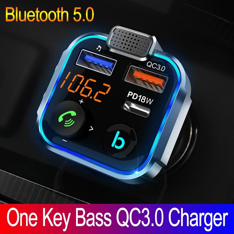 Автомобильное зарядное устройство JINSERTA QC3.0 PD 18 Вт, Bluetooth 5,0, FM-передатчик с одной кнопкой, бас, mp3-плеер, внешний большой микрофон, музыкальный ...