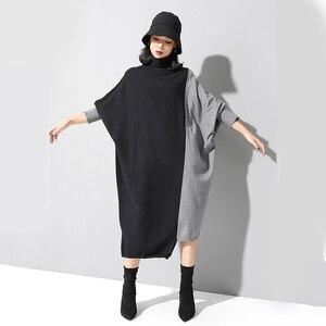 Image 5 - [EAM] Frauen Kontrast Stricken Große Größe Kleid Neue Hohe Kragen Lange Flügel Hülse Lose Fit Mode Flut Frühjahr herbst 2020 1D675