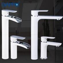 GAPPO biały mosiądz chromowany baterie umywalkowe kran wodospad baterie umywalkowe baterie zlewozmywakowe wysoka łazienka krany wody opady deszczu mikser griferia