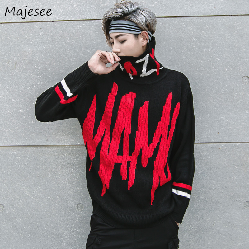 Sweaters Men Printed Turtleneck Printed Knitting Soft Warm Daily Simple All-match Korean Style Trendy Sweater Mens Ulzzang Chic