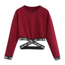 Crop Sweatshirt Women Hoodies Winter Pullover Harajuku Moletom Autumn Female Letters Clothes Tops For