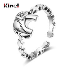 Кольцо в виде слона из серебра 100% пробы стиле панк