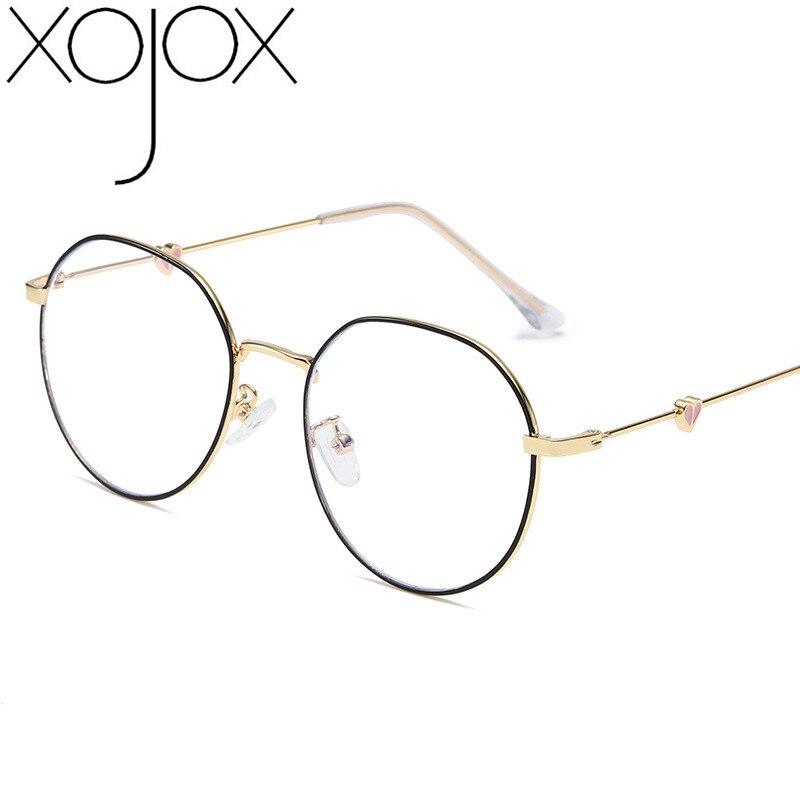XojoX Metal Heart Glasses Frame Women Peach Love Heart  Spectacle Frames Heart-shaped Fashion Eyeglasses Male Myopia Frame